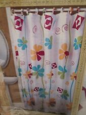 """Printed Fabric Shower Curtain 70"""" x 72"""" White &  Bright Floral #9511 Better Home"""