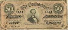 1864 $50 CONFEDERATE CIVIL WAR CURRENCY NOTE ~ PRESIDENT JEFFERSON DAVIS - NICE