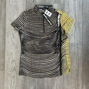 Jamie Sadock Women's Golf Short Sleeve Shirt 1/4 Zip Brown Size S SMALL NEW