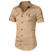 Men's Short Sleeve Army Cargo Casual Shirt Work Military Slim Fit Shirts Tops US