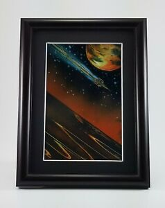 Space Painting art print matted and framed titled Slingshot by Jason Girard