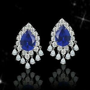 Blue Pear 925 Sterling Silver White Dangling Pear Halo Stud Earrings for Women