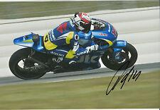 Randy de Puniet Firmada A Mano Suzuki MotoGP 2014 12x8 Foto 1.