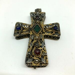 18th Century Reliquary gilded silver Cross Pendant