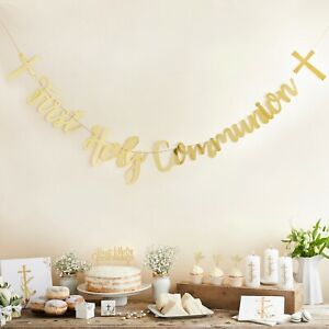 Gold First Holy Communion Decorations Christening Party Banner Napkins etc