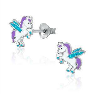 925 Sterling Silver Purple Aqua Glitter Unicorn Stud Earrings Kids Girls Cute