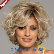 Fashion Blonde Mix Short Curly Wavy Women s Lady s Hair Wig Full Wigs + ... 6b24146797