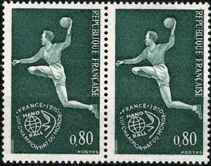 FRANCE 1970 7e CHAMPIONNAT DU MONDE HANDBALL Paire YT n° 1629 Neuf ★★ luxe / MNH