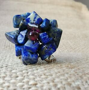 Lapis Lazuli Garnet Flower Ring Blue Colour Silver Plated Adjustable Ring