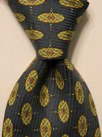VALENTINO Mens 100% Silk Necktie ITALY Designer Geometric #68118 Blue/Yellow EUC