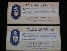 """2 Antique BLOTTER """"The JOHN HANCOCK Mutual Life Co."""" Check Book Blotter"""
