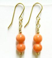 9ct Yellow Gold Pink Coral Drop/Dangle Hook Earrings Free Gift Box