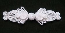 6 pairs white Chinese frog buttons closures knot fasteners cheongsam decorative