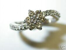 DIAMOND RING 0.60CT CHOCOLATE COLOR DIAMONDS 14 K WHITE GOLD