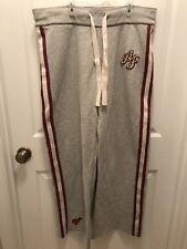 mens - ABERCROMBIE & FITCH sweat pants - M - Red Stripe- Gray - Drawstring