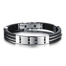 Armband Silikon Edelstahl Herren Damen Silikonarmband Schwarz Silber Reif Surfer