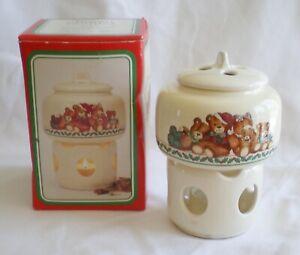 "Retro Vintage Christmas Teddy Bears 6"" Wax Scent Votive Warmer Potpourri Press"