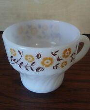 Vintage Termocrisa Milk Glass Coffee Cup Brown Leaves Yellow Blanketflowers