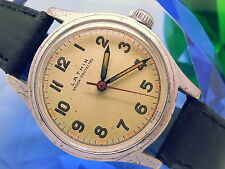 SUPER-RARE 1940s LATHIN MILITARY WWII FIELD JIGSAW BACK 60SEC VINTAGE MENS WATCH