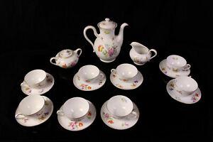 Rosenthal Selb-Bavaria Kaffeeservice Tee Blüten Blumen Floral Goldrand 8 Pers