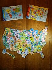 Lot of 3 Puzzles Map preschool kids maps magnetic wood set