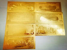 7 Pcs Gold Plated Commemorative Notes American Coin Bill Collection Decoration