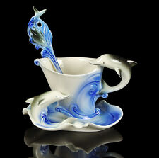 Practical Porcelain Marine Blue Dolphin Coffee Set 1Cup 1Saucer 1Spoon Gift
