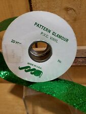 Vintage CHRISTMAS Green Foil Ribbon by Narrow Ribbon Pattern Glamour PVC Vinyl