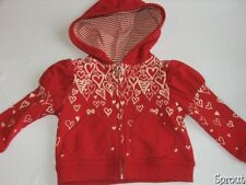 PAPER WINGS size 3 zip hoody jacket hearts white red EUC 3T