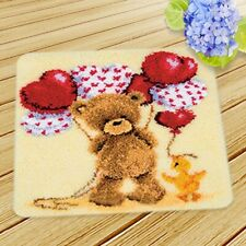 Large Latch Hook Rug Carpet Kit Handmade Making Bear Balloon Cushion 45X45CM