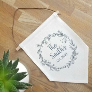 Personalised Linen Flag New Home New Wedding Anniversary Couple Est Vintage