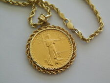 1986 FINE GOLD AMERICAN EAGLE COIN 14 K GOLD BEZEL PENDANT 20'' -14K GOLD CHAIN
