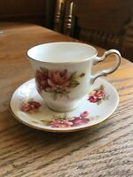 QUEEN ANNE BONE CHINA ENGLAND CUP & SAUCER YELLOW PINK ROSES