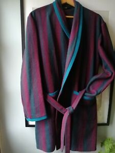 1960s Wool Blend Striped Mens Belted Dressing Gown Robe Wine D Teal Stripes L