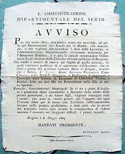 Z11773-PERIODO NAPOLEONICO, DIPARTIMENTO DEL SERIO,SCUOLA PER DONNE,BERGAMO 1805