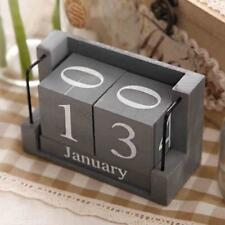 Wooden Calendar Perpetual Desk Daily Manual Blocks Cubes Creative Home Organizer