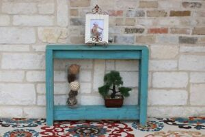 TURQUOISE RUSTIC ENTRY WAY TABLE 36''