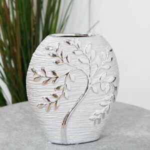 Hestia Silver Electroplate Tree Oval Ceramic Vase