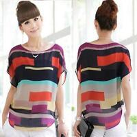 Women Casual Loose Blouse Tops Rainbow Short Sleeve Summer Shirt Ladies T-Shirt