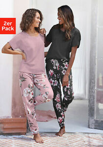 Vivance Dreams Pyjama (2 Stück) mit Blumendruck, lila, geblümt, schwarz. NEU!!!