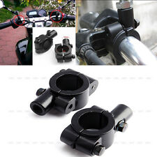 2Pcs Motorcycle Aluminum Handlebar Mirror Adaptor Clamp On Mount Brackets 10mm