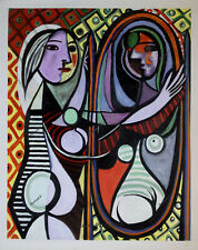 Pablo Picasso Oil Painting Girl Before a Mirror Vintage Hand-Painted Art 24x30
