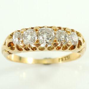 Antique Victorian Diamond Five-Stone Ring 0.65 Carat, circa 1890, Old European