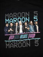 Maroon 5 Concert T Shirt Tee Red Pill Blues Tour Black Short Sleeve
