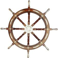 "Antique Wooden Large Ship Wheel 36"" Steering Captain Wheel Nautical Wall Decor"