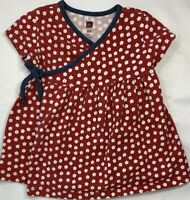 Tea Collection Girls 18-24 Months Red Floral Wrap Dress with Blue Trim