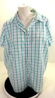 WOMAN WITHIN WOMENS WHITE & TEAL CHECKED BLOUSE SIZE 1X