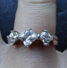 vintage 925 STERLING SILVER cubic zirconia 3 stone dress ring 7 3/4 -R21