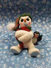 Grumpy Snowman Christmas Winter Penguin Figurine Polymer Clay