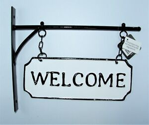 """PD Home & Garden WELCOME Metal Sign, Wall Mount - Rustic - 11"""" X 4 1/4"""""""